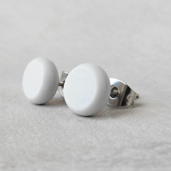 c0d2308e4 Tiny Grey Stud Earrings, Minimalist Jewelry, Mens Stud Earrin.