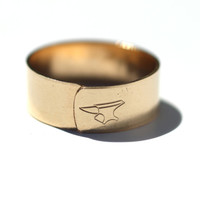 Adjustable Custom Gold Bar Ring
