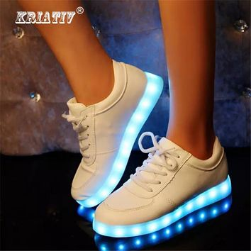 Led Kids Lighting Up Shoes Girls Boys Children Shoes with Light with USB Luminous Sneakers Glowing Shoes White