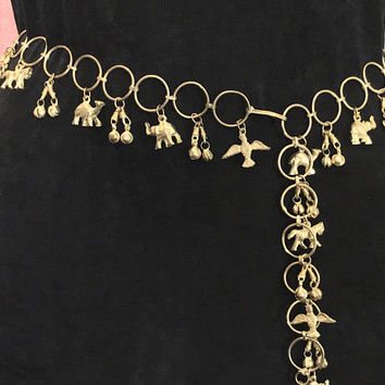 Vtg 60s Metal Figural Charm Belt / Gold Belly Dancer Waist Chain / Elephants Birds Camels Horses Animal Charms and Bells / Ornate Boho Gypsy