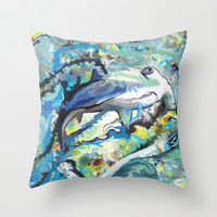 The Difficulties of the Water Soluble Shark Throw Pillow by Hanna Lemoine