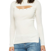 Mock Neck Sweater with Front Cutout
