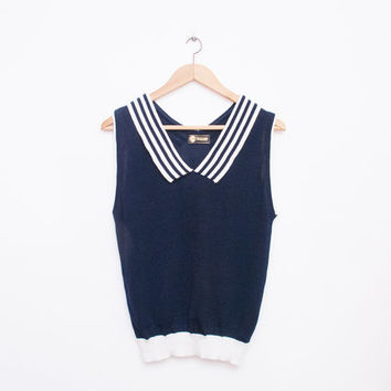 NOS vintage 80s navy and white knit top sweater size S nautical preppy