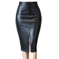 New Elegant Sexy PU leather skirt