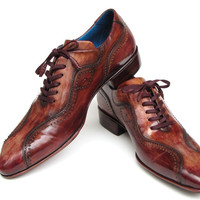 PAUL PARKMAN HANDMADE LACE-UP CASUAL SHOES FOR MEN BROWN HAND-PAINTED LEATHER UPPER AND LEATHER SOLE