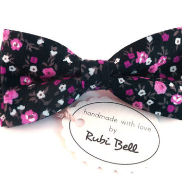 Bow Tie - black floral bow tie - wedding bow tie - black bow tie with purple flower pattern - man bow tie - men bow tie - gifts for him