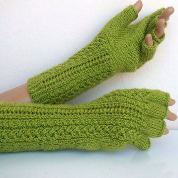 Pistachio green Half Finger GlovesREADY TO SHIP by myknittingworld