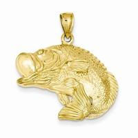 14k Gold Bass Fish Jumping Pendant