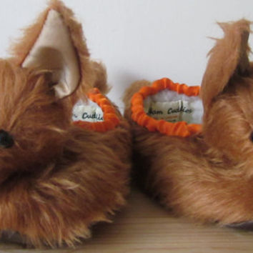 Kids Slippers-Baby Fox Heads-Small Size-Childrens Warm Foot Wear-Chestnut Plush-Christmas-Birthday-Year Round-Novelty Gift Idea