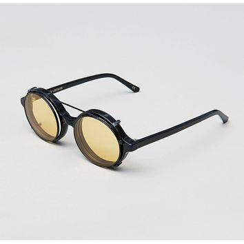 Han Kjobenhavn - Doc Clip On 47mm Black Sunglasses / Yellow Lenses
