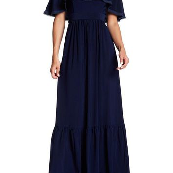 Eliza J | Off-the-Shoulder Ruffle Trim Maxi Dress