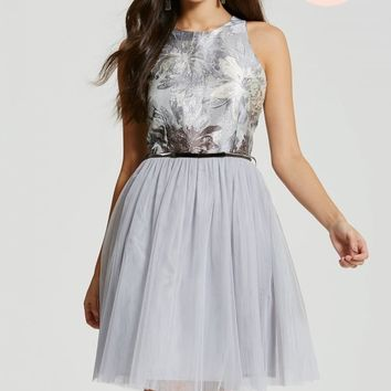 CHLOE LEWIS COLLECTION SILVER JACQUARD DIPPED HEM MESH DRESS