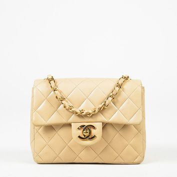 """VINTAGE Chanel Brown Quilted Lambskin Leather """"Mini Classic Flap"""" Bag"""
