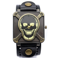 2016 New Fashion Skull Leather Bracelet Men Casual Trendy Quartz Wrist Watch Free Shipping