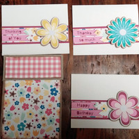 NEW!!  Handmade Thinking of you, Thank you, & Happy Birthday Cards w/envelope set of six with Cardbox