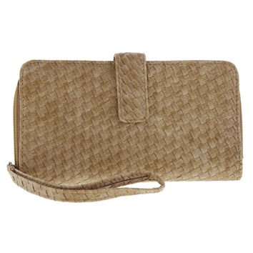 Kenneth Cole Reaction Womens Faux Leather Woven Wristlet Wallet