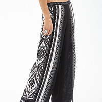 FOREVER 21 Tribal Print Wide-Leg Pants Cream/Black