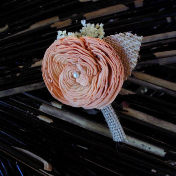 Rustic peach boutonniere, sola boutonniere rustic wedding peach boutonniere peach button hole beach wedding country wedding