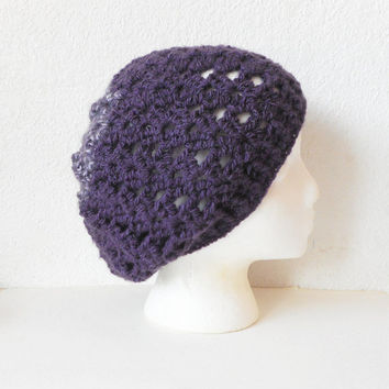 Two Tone Lacy Slouch Hat in Eggplant and Purple, ready to ship.