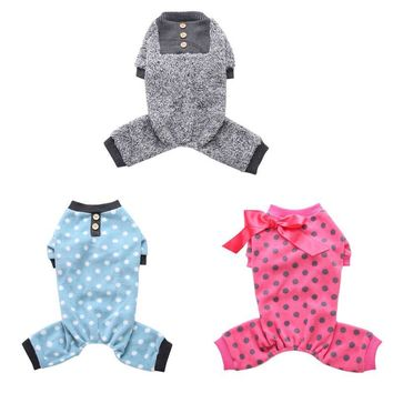 Pet Dog Warm Pajamas for Winter Puppy Dog Pattern 4 Foot Coat Jumpsuit with Bowknot Fleece Pet Clothes Costume Pet Cloth Supply