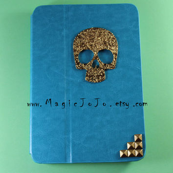 Floral Sugar Skull Ipad case cover, Blue Leather Skull mini ipad case with bronze studs,studded Ipad Case ,Leather ipad Case Cover