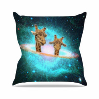 "Suzanne Carter ""Fred & Larry "" Teal Fantasy Throw Pillow"