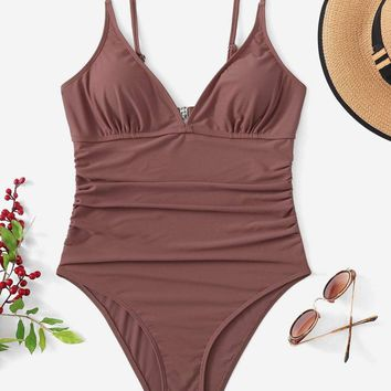 Ruched Front Cutout Back Cami One Piece Swimsuit