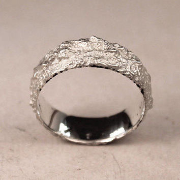 Silver Rock Ring, Hand Forged Silver Jewellery, Nature Ring, Rustic Textured Ring,  Men's Chunky Band.