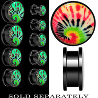 Tie Dye Glow in the Dark Screw Fit Plug in Anodized Black Titainum | Body Candy Body Jewelry