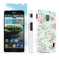 LG Optimus F6 D500 White Full Protection Designer Case + Screen Protector By SkinGuardz - Mint Roses