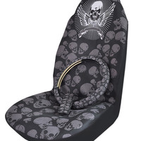 High Quality Skull Universal Bucket Seat Covers Steering Wheel Covers Seat Belt Covers Car Interior Decoration Auto Accessories