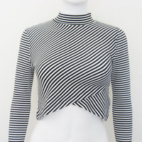 FREE PEOPLE 90s Cropped Striped long Sleeve Shirt