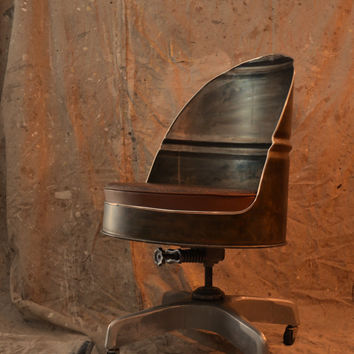 Industrial Office Chair Barrel Style with vintage base. Now available in custom colors!