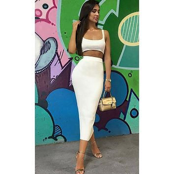 Playing With Fire Sleeveless Scoop Neck Crop Top Two Piece Bodycon Casual Midi Dress - 7 Colors Available