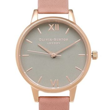Olivia Burton 'Midi Dial' Leather Strap Watch, 30mm | Nordstrom