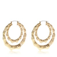 Gold tone double creole hoop earrings