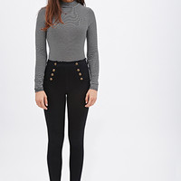 FOREVER 21 Sailor Skinny Jeans Black