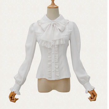 Victorian Lolita White Chiffon & Lace High-Necked Lantern Sleeve Shirt Blouse Steampunk Gothic