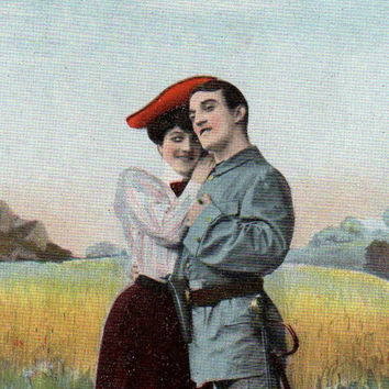 Antique Romantic Couple Tinted Real Photo Postcard Early 1900s