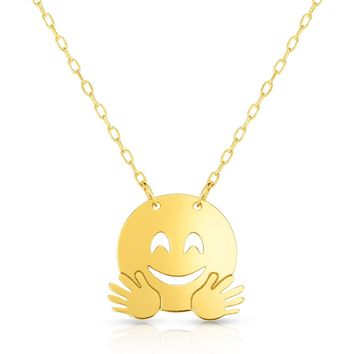 14k Yellow Gold Happy Face Flying Emoji Necklace, 16""