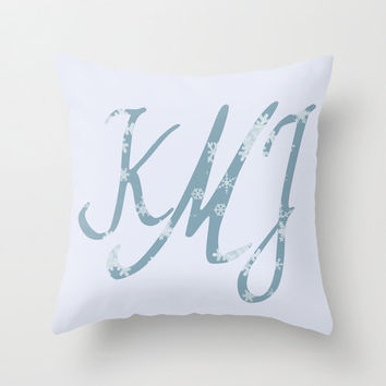 "Christmas Monogram Personalized Custom Pillow Cover ""Frostine"" 16x16 Snowflake Couch Winter Decor Initials Name Letters Ceil Blue White Gift"