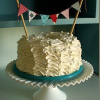Ruffle Cake with Pennant Flags