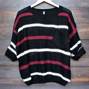 chunky oversized stripe knit boyfriend sweater in black