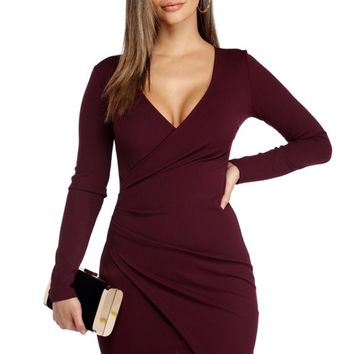 Plum All Wrapped Up Asymmetric Dress