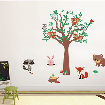 cik1663 Full Color Wall decal bedroom children's room decor Custom Baby Nursery on bed baby tree nusery decal tree forest animals