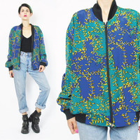 80s 90s Bomber Jacket Slouchy Abstract Print Bomber Jacket Blue Green Gold Zip Up Track Jacket Lightweight Cropped Unisex Hip Hop (M/L)