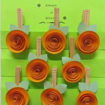 Gold Quilled Rose Clothespin magnet set, magnetic back clips, bridal shower games, wedding decorations, housewarming gift idea