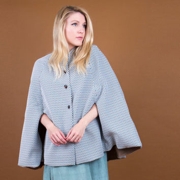 60's abstract blue cape / mod pattern draped poncho / boxy cape jacket coat / Vintage 1960s shawl cloak