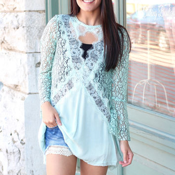 All in the Lace Long Sleeve Tunic {Mint}