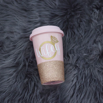 Pink Glitter Dipped Wifey To Go Mug